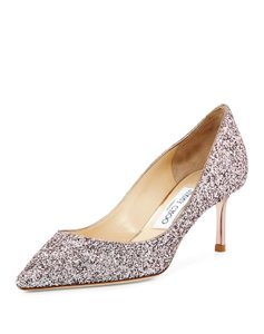Jimmy Choo Pointed Toe Leather Glitter Stiletto Pumps
