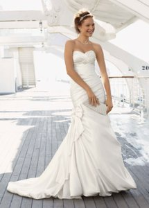 David's Bridal Satin Mermaid Gown With Bow Detail Wedding Dress