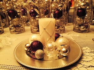 Purple And Silver Christmas Wedding Reception Decor