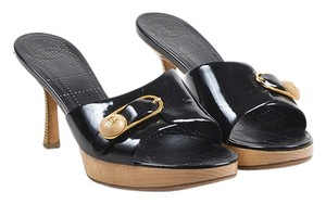 Chanel Open Toed Leather Wood Black, Gold and Tan Sandals