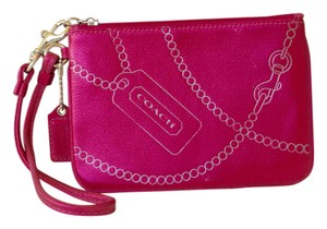 Coach Metallic Wallet Leather Wristlet in Pink