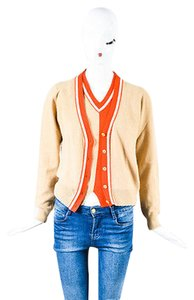 Chanel 02p Coral Red Cashmere Braided Trim Cardigan Set Sweater