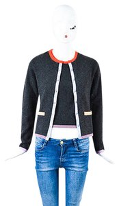 Chanel 98c Charcoal Multicolor Cashmere Cardigan Set Sweater