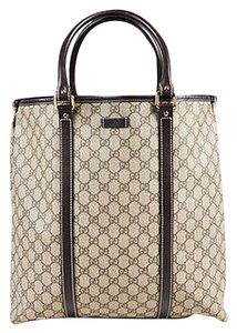 Gucci Brown Canvas Leather Trim Gg Plus Tote in Beige