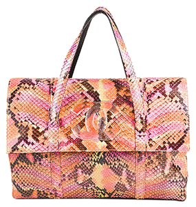 Chanel Pink Orange Python Snakeskin Cc Top Flap Clutch Tote in Multi-Color