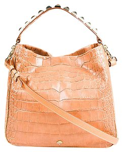 Mulberry Crocodile Embossed Leather Gold Tone Studded Eliza Shoulder Bag