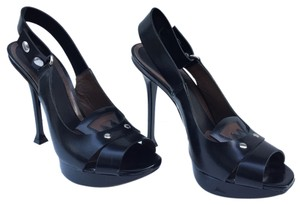 Marni Leather Peep Toe Ankle Strap Black Pumps