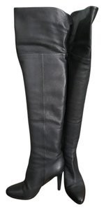 Jimmy Choo Knee High Leather Over The Knee Black Boots