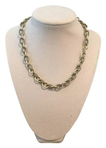 David Yurman DAVID YURMAN 18K SS OVAL MEDIUM LINK CABLE NECKLACE