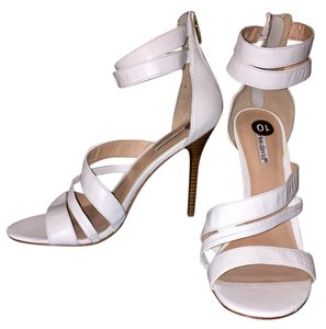 Charles David Zipper Strappy Sexy Night Out Date Night White Pumps