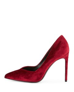 Saint Laurent Velvet Pointed Toe Stiletto Leather Pumps