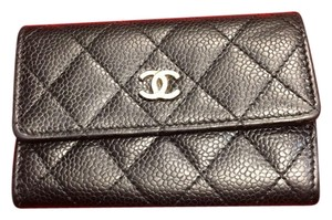 Chanel Pebbled Leather Logo Wallet