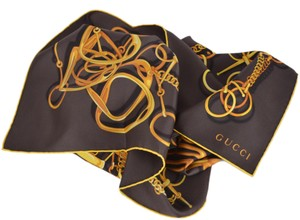 Gucci Gucci Women's 251146 BLACK and Gold Silk Horsebit Chain Neck Scarf