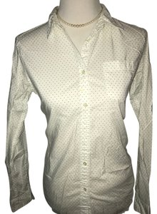 Uniqlo Button Down Shirt White with black pocka dots
