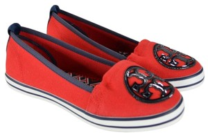 Tory Burch Red with Navy emblem Flats