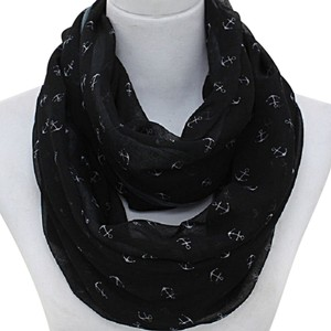 Other Nautical By The Sea Black Anchors Forever Infinity Scarf