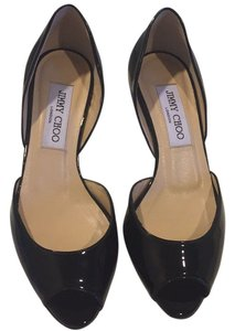 Jimmy Choo Patent Leather Open Toe Sandal Black Pumps