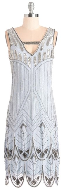 Item - Ice Blue Great Gatsby 1920s Vintage-inspired Beaded Flapper Scalloped Trim Above Knee Cocktail Dress Size 4 (S)