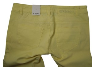 Char Collection Ankle Zip Crop Women's Fashion Capri/Cropped Pants Yellow