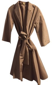 BCBGMAXAZRIA Silk Trench Fit N Flair 1950s Bcbg Tan Jacket