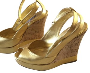 Polo Ralph Lauren collection gold and cork Wedges
