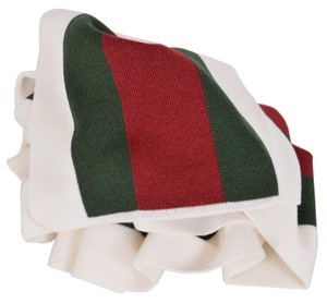 Gucci Gucci 206086 Wool Silk WHITE Red Green Web Stripe Scarf Muffler