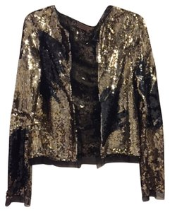 BCBGMAXAZRIA Jacket Sequin Mettalic Tulle Top Gold/Black/Silver
