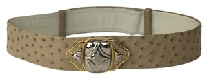 Judith Leiber Judith Leiber Beige Leather Wide Belt