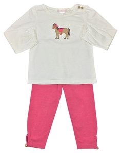 Janie and Jack Longsleeve Gold Pink Elastic Cotton T Shirt WHITE/ PINK