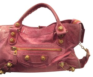 Balenciaga City Satchel in PINK with Gold Hardware