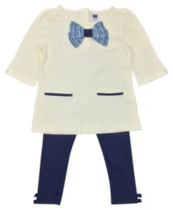Janie and Jack Cotton Tweed Elastic Bow Tunic