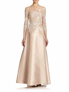 Teri Jon Champagne Bead Top Satin Gown Dress