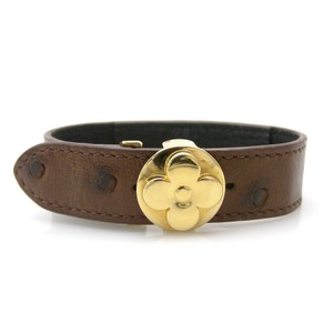 Louis Vuitton LOUIS VUITTON Bracelet Bangle Ostrich Leather Brown