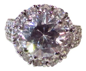 CRISLU Platinum and Cubic Zirconia Round Halo Ring
