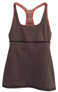 Lululemon Top Black and Tan stripes with pink trim