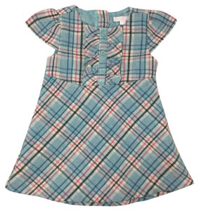 Janie and Jack short dress LT. BLUE/ PINK Plaid Print Ruffle Wool Polyester on Tradesy