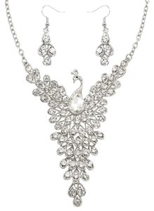 Other Clear Rhinestone And Crystal Silver Peacock Necklace Set