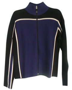 Lord & Taylor Sporty Marino Wool White Piping Sweater