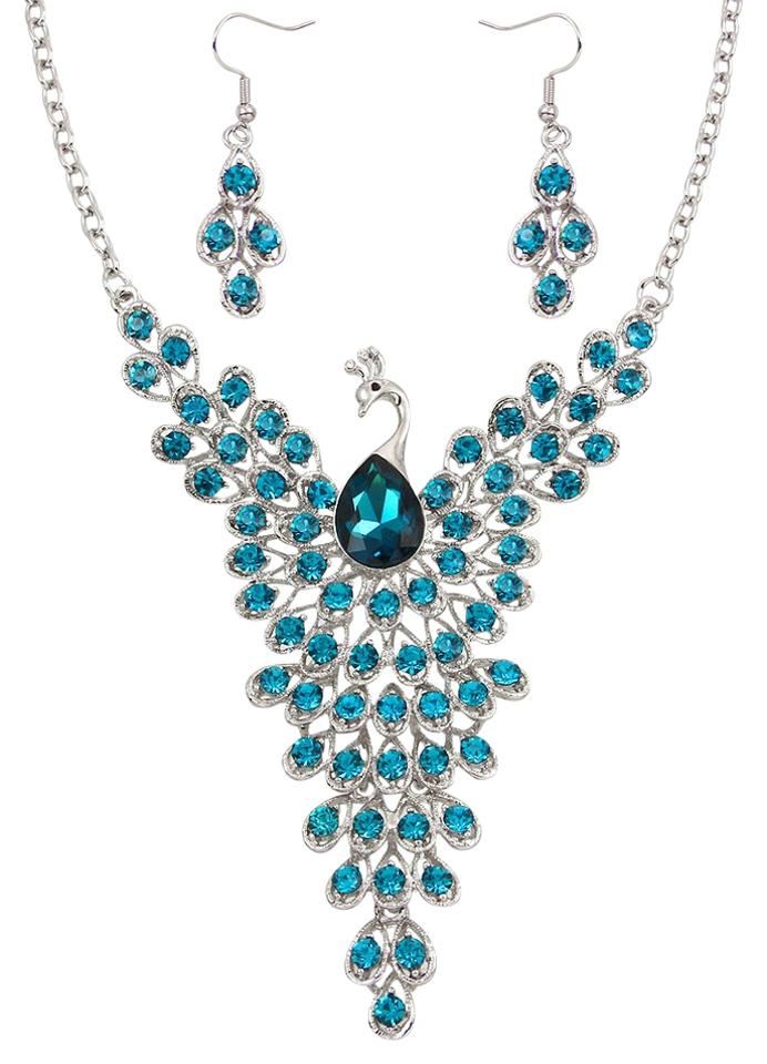 63bc28b9e9 Other Teal Blue Rhinestone And Crystal Peacock Necklace   Earrings Image 0  ...