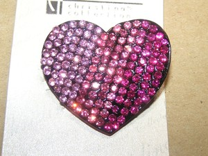 Pink Rhinestone Heart Pendant Or Brooch Free Shipping