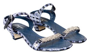 Chanel Tweed Chain Blue + Black + White Sandals