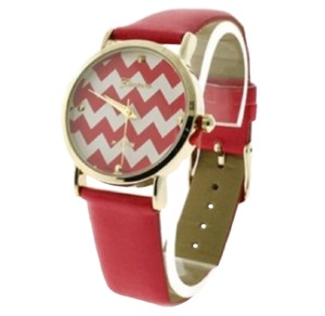Geneva Cranberry Red Chevron Watch