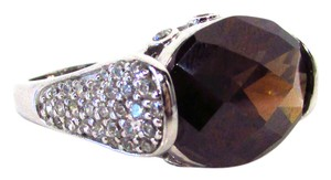CRISLU Oval Gemstone Ring with Cubic Zirconia Encrusted Sides