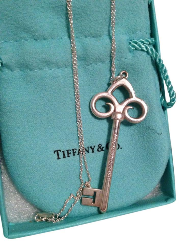 Tiffany co sterling silver co fleur de lis key pendant on 16 tiffany co fleur de lis key pendant aloadofball Images