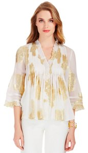 Diane von Furstenberg Top Gold and White
