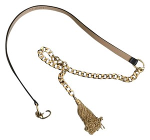 St. John NEW gold-tone chain with black leather belt and tassel