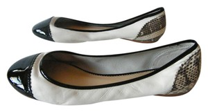 Pour La Victoire Leather Patent Leather Snae Skin White/Black/Snake Skin Flats