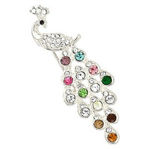 Multicolor Rhodium/Silver Rhinestone Crystal Peacock Charm Brooch/Pin