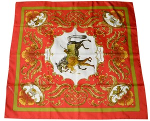 Hermès Hermes Red Silk Cheval Turc Square Scarf