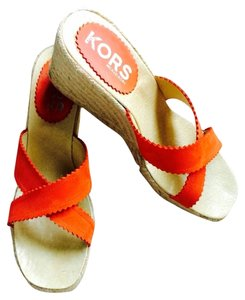 Michael Kors Orange With Natural Colored Jute Wedges